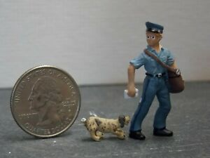Dollhouse Miniature Dog & Mail Man Animals A15 1:48 Quarter Scale Dollys Gallery