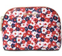 NWT Michael Kors Medium Travel Pouch Cosmetic Bag Floral Red Blue Multi Begonia