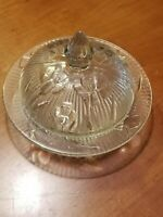 Jennette Depression Glass Crystal Butter Dish and Cover Iris And Herringbone/#2