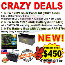 NEW 120W Solar Panel + NEW Battery Box + NEW MCA 120AH Battery