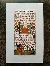 Completed finished cross stitch - Prairie Schooler - Autumn Leaves - on 14 ct