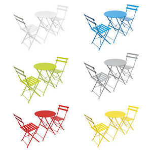 Woodside Aylsham Outdoor Garden Patio Folding Table & Chair Bistro Set 6 Colours
