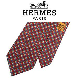Hermes Tie - Red Yellow Green Floral 100% Silk Authentic French Necktie