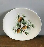 "Vtg 50s Hallcraft Eva Zeisel USA Pinecone Pine Tree Needles Salad Plate 8 5/8"""