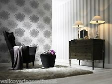 Plata, crema y gris, diseño de flores, pegue The Wall Wallpaper + £ 10.99 inc envío y manipulación +