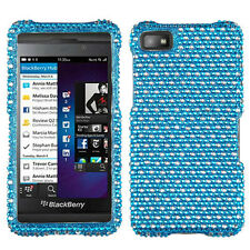 For BlackBerry Z10 Crystal Diamond BLING Hard Case Snap Phone Cover Blue Dots