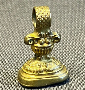 FOB Antique Edwardian Victorian Ornate Gold Tone Envelope Wax Seal Stone Stamp