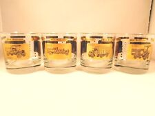 Mack Truck Bar Glass Set of 4 Gold Rim Mid Century Tumbler 50s 60s Advertising