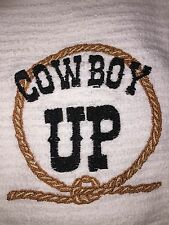 Embroidered Kitchen Bar Hand Towel BS0442 COWBOY UP WITH ROPE BORDER- HIS