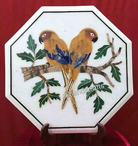 Beautiful Yellow Bird Design Inlaid Marble Table Top White Corner Table 18 Inch