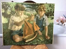 """original vintage 1950's print on board ' the new boat' by William Drury 23"""" x19"""""""