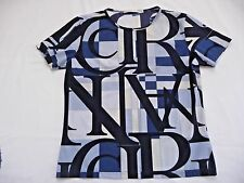 Nina Ricci IT 46 M Top Blue Scripted Logo Short Sleeves ColorBlock Made in Italy