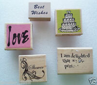 Mixed Lot Of 5 NEW Wedding Love Themed Stamps Rubber Mounted Wedding Cake Love