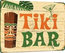 Tiki Bar Hut Beer Logo Retro Weathered Pub Man Cave Wall Decor Metal Tin Sign