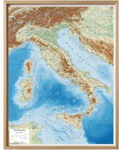 Italia Carta in Rilievo [con cornice] [72x92 Cm] [Cartina/Mappa] Global