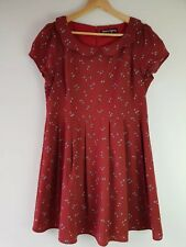 PRINCESS HIGHWAY Floral/Heart Print Dress, Terracotta Red Size 14 Scallop Collar