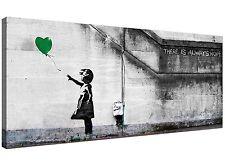 Modern Green Canvas Wall Art of Banksy Balloon Girl