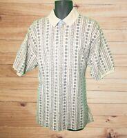 Bugle Boy Vintage Men's SS Beige Polo Shirt w Gray & Tan Print! So 90's! Size L
