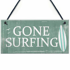 Gone Surfing Hanging Plaque Nautical Decor Beach Seaside Chic Home Sign Gifts
