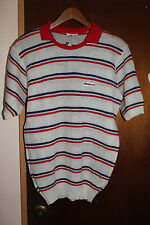 Vintage Ellesse Men's Red White Dark Blue Stripe Shirt Sweater Size Large Tennis