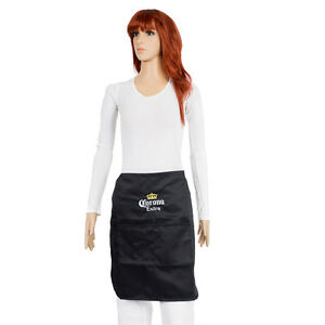 New Corona Half Short Waist Apron Front Chef Waiter Pockets Kitchen Black Mexico
