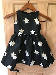 NWT Gymboree Black with Gold Sparkle star Dress Christmas Wedding