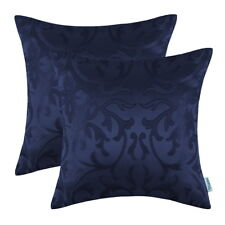 2pcs Modern Jacquard Florals Cushion Covers Pillow Shell Decor Navy 50cm X 50cm