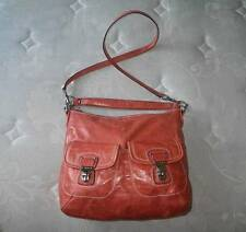 Coach Poppy Tangerine Waxed Leather Distressed Swing Messenger Hobo Bag Purse