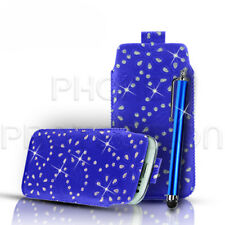 Quality Slim Line Diamond Leather Pull Tab Flip Case & Stylus for Various Phones