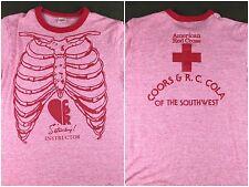 Vintage Mens M 70s 80s Skeleton Ribcage CPR Instructor Tri-Blend Ringer T-Shirt