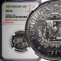 DOMINICAN REPUBLIC 1991 25 Centavos NGC MS64 Native Culture KM# 71.1