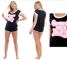 New Ann Summers Black Pyjamas Set Cotton Shorts & T Shirts UK 12 14 16 18 20 22