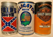 New ListingPride of the South, Alligator, Harley Davidson Daytona Aluminum Beer Cans (3)