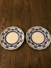 """TWO Johnson Brothers Flow Blue Glenwood 10"""" Dinner Plates England"""