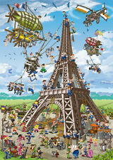 Jigsaw Puzzle International Building Eiffel Tower Caricature 1000 piece NEW USA