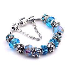 Bijou bracelet gourmette avec charms perles  argent 925 tendance bleu turquoise