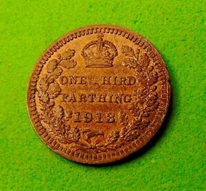 MINT  UNC  GRADE  SCARCE  *1913*  THIRD  FARTHING...LUCIDO_8  COINS