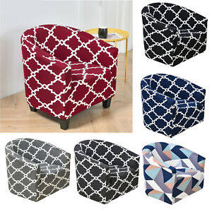 Club Chair Slipcover, Stretch Spandex Removable Geometric Pattern Armchair