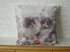Kissenbezug Zwei Katzen mit Rosen Fotodruck Landhaus Shabby Polyester 40x40 Cm