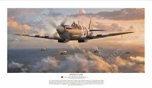 WW2 Canadian Spitfire Mk IX Ace Johnnie Johnson Ltd Print Normandy artist signed