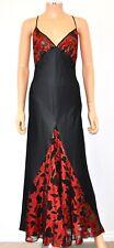 VTG NWT BOB MACKIE BLANCHE Sexy Red Black Satin Long Nightgown Dress - Large