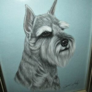 "Framed & Signed Robert C. Hickey Mini Schnauzer Pastel 18.5"" x 15.5"" Sweet"
