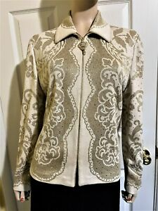 Gorgeous St John Evening Jacket Gold Glitter & Ivory W Lots of Sparkle size 14