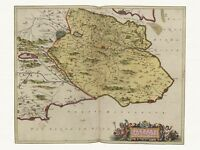Old Vintage Antique Fife St Andrews Scotland decorative map Blaeu ca. 1655