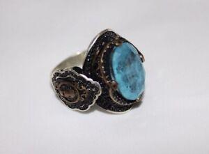 Blue Topaz Men's Rings, 925 Sterling Silver Turkish Rings Rings SIZE 12