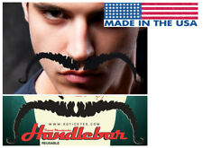 Black Handlebar Mustache Body Sticker Costume Funny Cartoon Halloween Accessory