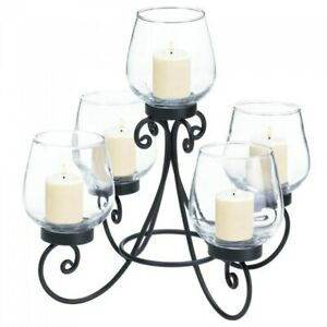 Five Candle Holder Metal Centerpiece Wedding Dining Table Tealight Glass Cups