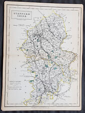 1833 Sydney Hall Antique Map of of the English County of Staffordshire