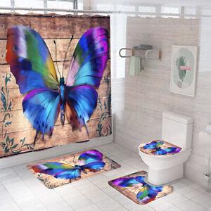 Butterfly Bathroom Rug Set Shower Curtain Non-Slip Toilet Lid Cover Bath Mat