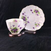 Vintage Victoria Scalloped Tea Cup and Saucer Purple Flowers Bone China England